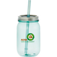 Promotional Products - Custom Imprinted Tumbler - Promotional Tumbler - Vintage Mason Jar Tumbler with Straw 25oz