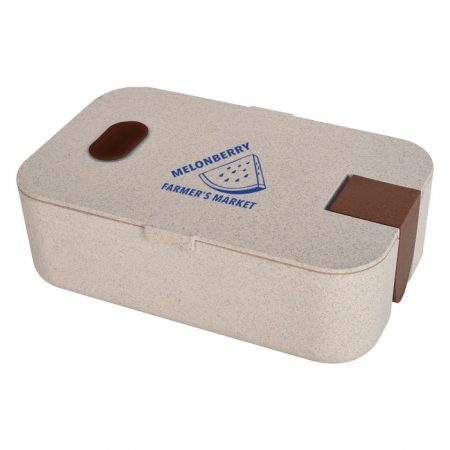 Promotional Custom Logo Wheat Lunch Set With Phone Holder