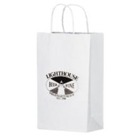 Promotional Custom Logo White Eco-Friendly Paper Handle Shopper Bag