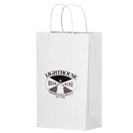 Promotional Custom Logo White Eco-Friendly Paper Handle Shopper Bag