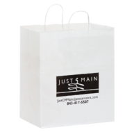 "Promotional Custom Logo White Eco-Friendly Paper Handle Shopper Bag 14.5"" x 16.25"" x 9.5"""