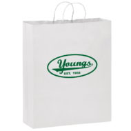 "Promotional Custom Logo White Eco-Friendly Paper Handle Shopper Bag 16"" x 19"" x 6"""