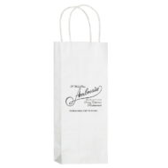 "Promotional Custom Logo White Eco-Friendly Paper Handle Wine Tote 5.75"" x 12.50"" x 3.5"""
