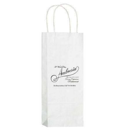 "Promotional Custom Logo White Eco-Friendly Paper Handle Wine Tote 5.75"" x 12.50"" x 3.5"""