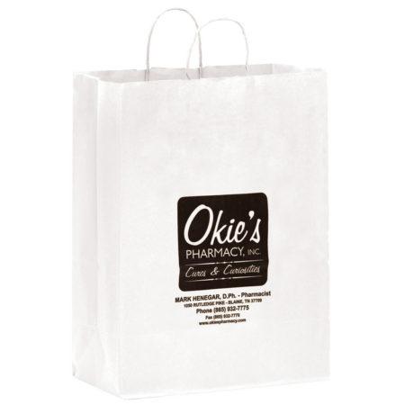 "Promotional Custom Logo White Eco-Friendly Paper Shopper 13"" x 17"" x 7"""
