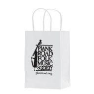 """Promotional Custom Logo White Eco-Friendly Paper Take-Out Shopper Bag 5.50"""" x 8.375"""" x 3.25"""""""
