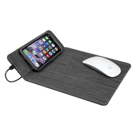 Custom Logo Woodgrain Wireless Charging Mouse Pad with Phone Stand